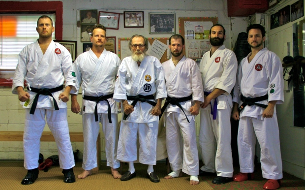 (left to right) Mr. Ezra Scott, Mr. William Spencer, Sensei James McLain, Mr. Richard Garrett, Mr. Jason Tillman, Mr. Neil Stinson